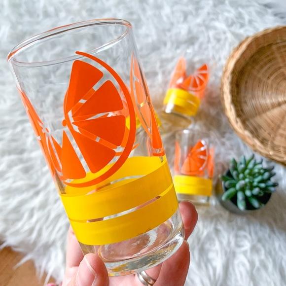 Vintage Retro Libbey Orange Slice Drinking Glasses - Set of 4